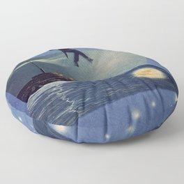 The moon fisherman Floor Pillow