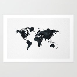 World Map in Black and White Ink on Paper Art Print