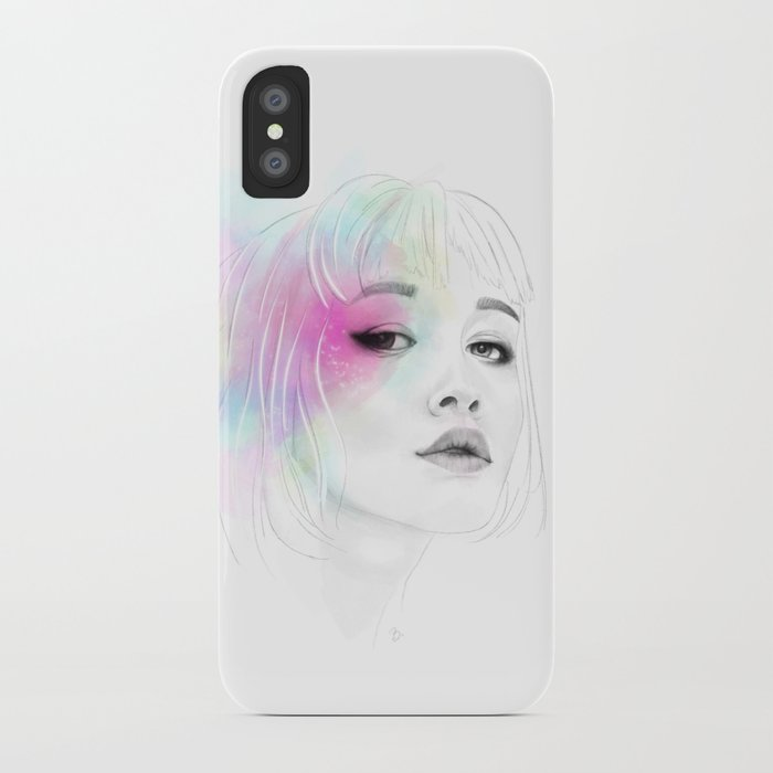 Pastel glowing Girl digital portrait iPhone Case