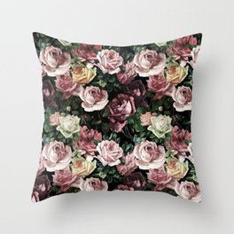 Vintage & Shabby chic - dark retro floral roses pattern Throw Pillow