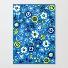Folk Flowers (Blue) Canvas Print