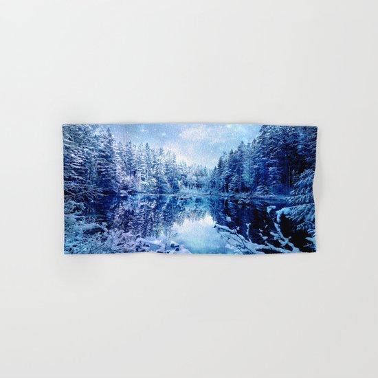 Blue Winter Wonderland : Forest Mirror Lake Hand & Bath Towel