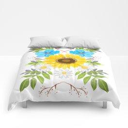 sunflower symmetry Comforters