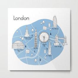 London Map - Blue Metal Print
