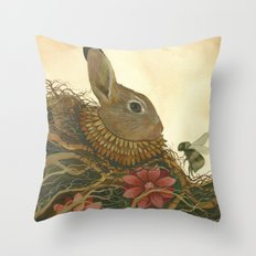 The Rabbit and the Bee Throw Pillow