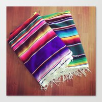 blankets Canvas Prints featuring mexican blankets by bailybelle