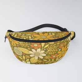 1970s Retro Flowers Pattern in Yellow, Orange & Olive Green Fanny Pack