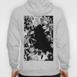 Stardust Black and White Floral Motif Hoody
