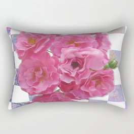 Pink Roses on Checkerboard Rectangular Pillow