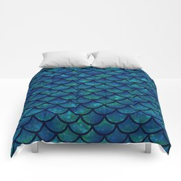 Mermaid scales iridescent sparkle Comforters