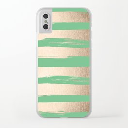 Painted Stripes Gold Tropical Green Clear iPhone Case