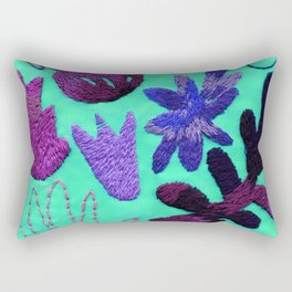 tropical leaves embroidered pattern Rectangular Pillow