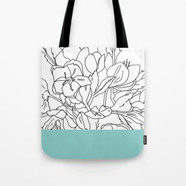 VESSEL - Floral Ink in Mint Green - Cooper and Colleen Tote Bag