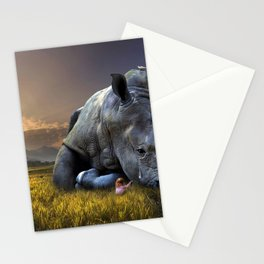 Rhinoceros Crying Stationery Cards