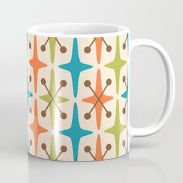 Mid Century Modern Abstract Star Pattern 441 Orange Brown Turquoise Chartreuse Coffee Mug
