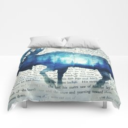 Double Exposure Moose | Night Sky Forest | Trees | Book Page | Vintage Art Comforters
