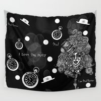 mad hatter Wall Tapestries featuring Gothic Mad Hatter -Monochrome Ver.- by AKIKO