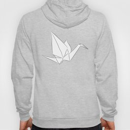 Japanese Origami white paper cranes sketch, symbol of happiness, luck and longevity Hoody