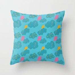 kites - blue Throw Pillow