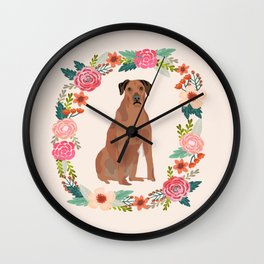 rhodesian ridgeback floral wreath dog breed pet portrait pure breed dog lovers Wall Clock