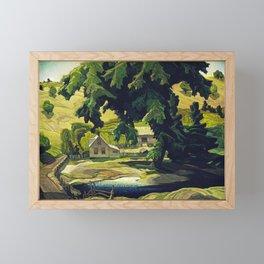 Farm Haliburton oil on hardboard 1940 Franklin Carmichael Canadian artist Art Nouveau Post-Impressio Framed Mini Art Print