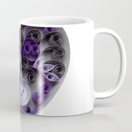 Purple Grey Love Heart Paper Quilled Colorful Heart Wedding Anniversary Gift Coffee Mug
