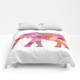Artsy watercolor Elephant bright orange pink colors Comforters