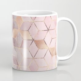 Pink And Grey Gradient Cubes Coffee Mug