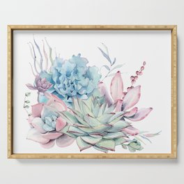 Pretty Pastel Succulents Serving Tray
