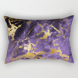 Ultra Violet Gold Marble Metallic Foil Rectangular Pillow
