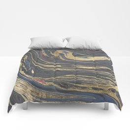 Abstract navy blue gray coral gold marble Comforters