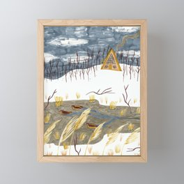 A-Frame Home in the Woods Framed Mini Art Print