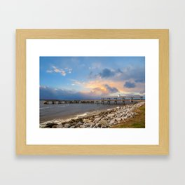 Pier and Seawall in Late Afternoon Framed Art Print