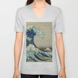 The Classic Japanese Great Wave off Kanagawa Print by Hokusai Unisex V-Neck