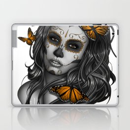 Sugar Skull Tattoo Girl with Butterflies Laptop & iPad Skin