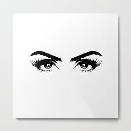 Sexy Black & White Eyes Girls Bedroom Eyelashes Makeup Art Metal Print