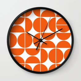 Mid Century Modern Geometric 04 Orange Wall Clock
