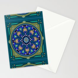 Boho Floral Crest Blue and Green Stationery Cards