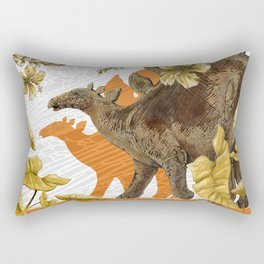 Jurassic Stegosaurus: Orange & Gold Rectangular Pillow