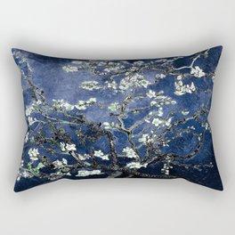 Vincent Van Gogh Almond Blossoms Dark Blue Rectangular Pillow