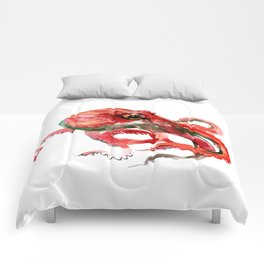 Octopus, Coral Reef, Sea world red design, red room design Comforters