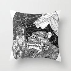 Fleeing Skeleton Throw Pillow