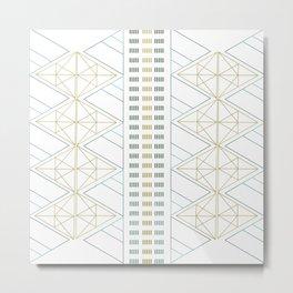 Gold Aqua Geometric Pattern 1.0 Metal Print