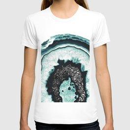 Icy Blue Agate with Black Glitter #1 #gem #decor #art #society6 T-shirt
