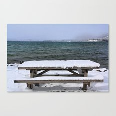Frozen Bench Canvas Print
