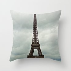 Eiffel Tower on a Cloudy Day Throw Pillow