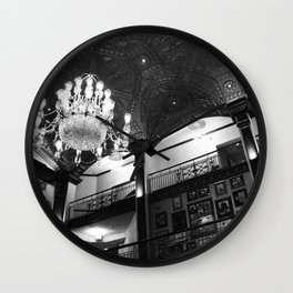 black and white lit lobby Wall Clock