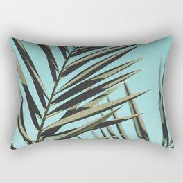 Palm leaf, Tropical, Blue, Green, Nature, Modern art, Art, Minimal, Wall art Rectangular Pillow