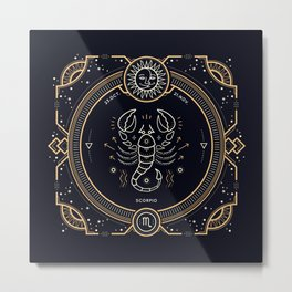 Scorpio Zodiac Golden White on Black Background Metal Print
