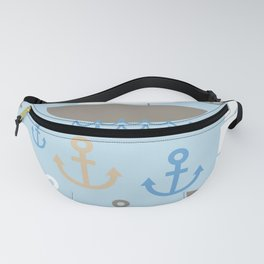 Light Blue background. Boat with white sails, sea anchor Fanny Pack